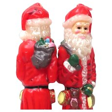 Tall Vintage Santa Claus Candles Tapers Santa Holds Teddy Bear