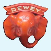 Original Vintage Republican Red Elephant Political Pin for Dewy