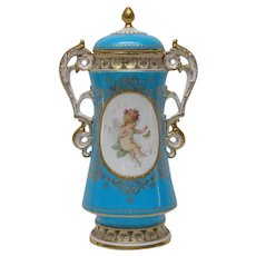 Antique Minton England Gilded Vase with Lid Staple Repair