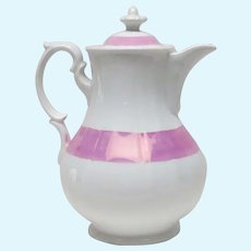 Signed KPM Large Pink and White Water Pitcher