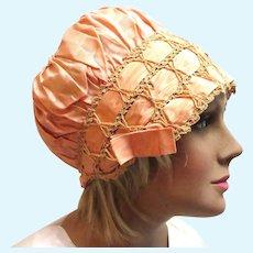 Early 1900's Peach Ribbon and Crochet Flapper Boudoir Hat Cap