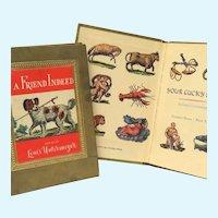 3 Vintage Miniature Hardcover Books Color Illustrated