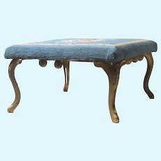 Blue with Roses Needlepoint Footstool Elegant Cast Iron Gilded Legs