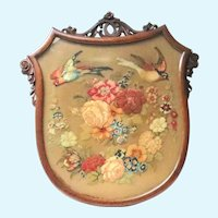 Antique Victorian Framed Needlework Birds Flowers Firescreen