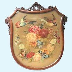 Antique Victorian Framed Needlework Birds Flowers Firescreen