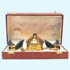 Limoges Individual Honey Pots Gilt Honey Pot Set in Presentation Box