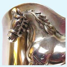 Charles Johnson Navaho Sterling Horse Cuff Bracelet