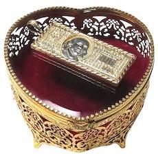 Large 24 KT Gold Plate Heart Jewelry Casket Box Ornate Filigree
