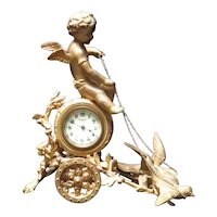 Large Antique New Haven Clock Cherub and Doves Chariot