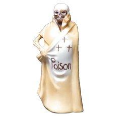Vintage Skeleton Grim Reaper Skull Ceramic Poison Bottle Flask