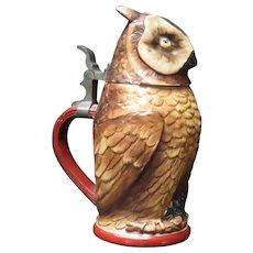 Vintage Figural Owl Germany Beer Stein Circa 1940's