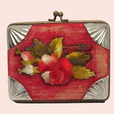 Worn to Perfection Victorian Ladies Needlepoint Flower Coin Purse