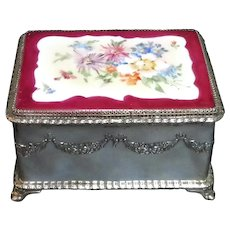Dated 1901 Hand Painted Pairpoint Silverplate Jewelry Casket Box