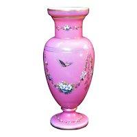 Monumental Pink Opaline Vase Hand Enameled Garlands of Flowers