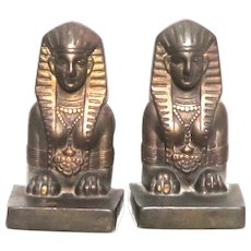 Ornate Egyptian Revival Bookends Cast Iron with Bronze Finish