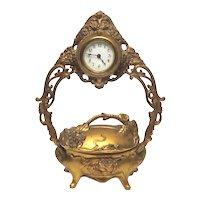 Large Antique Ornate Victorian Era Gold Gilt Jewelry Casket Clock