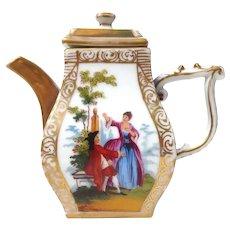 Miniature Hand Painted Dresden Tea Pot Signed JR Mark