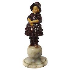 Marble Cast Iron Paperweight Little Girl Petticoat Dress Bonnet