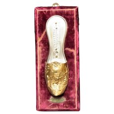 Early 1900's Wall Thermometer Match Striker Gilt Oriental Shoe