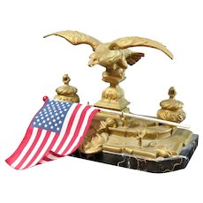 Large Antique Patriotic Eagle Double Inkwell Ink Pen Stand