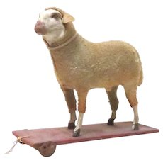 Antique Wool Ba Ba Sheep Pull Toy on Platform with Wheels
