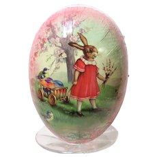 Germany Nestler Easter Egg Girl Rabbit with Cart of Blue Birds