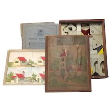 Antique 19th Century Children's Architecture Blocks in Box with Papers