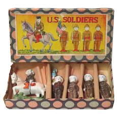 Made in Japan USA Bisque Soldiers in Original Box