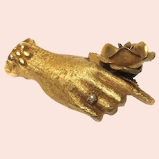 Rare Vintage Fashion Designer Lilly Dache Gold Paperweight Hand
