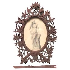 Early Ornate Intricate Self Easel Hand Carved Picture Frame