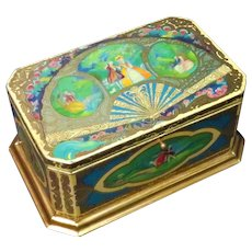 Large Lithographed Tin Artstyle Chocolate Box Chest
