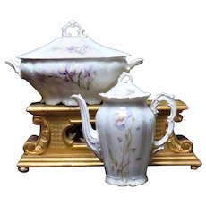 Antique Hand Painted Iris Flowers Tureen and Chocolate Pot