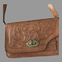 Mexican Leather Hand tooled Shoulder Handbag Childs