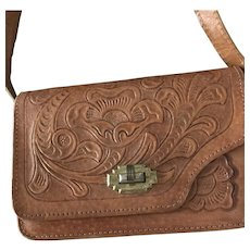 Vintage Mexican Leather Embossed Shoulder Handbag