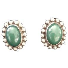VIntage Mexican Jadite Sterling Earrings