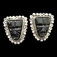 Vintage Mexican Mask Sterling Earrings