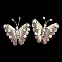 Vintage Mexican Sterling Butterfly Turquoise Earrings