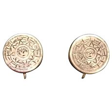Mexican Sterling Aztec Calendar Earrings