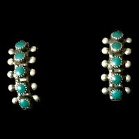 Native American Zuni Turquoise & Silver Earrings