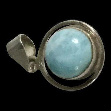 Sterling Silver Blue Marble Pendant MCD