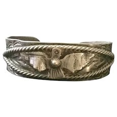Native American Phoenix Stamped Sterling Bracelet