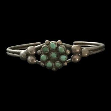 Zuni Turquoise Sterling Child Bracelet