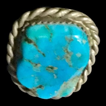vintage Native American Turquoise & Silver Tie Tac Lapel Pin