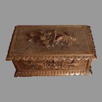 Old Wooden Carved Trinket Box