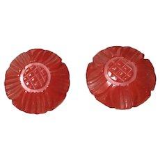 Cherry Red Bakelite Earrings
