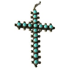 1960's Bell Trading Post Sterling &Turquoise Crucifix