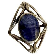Art Nouveau Style  Lapis Lazuli Sterling  Ring