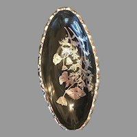 Vintage Sterling Silver Overlay poppy Oblong Tray
