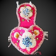 Vintage Whimsey Native American-Wall Pocket-Pink Beaded