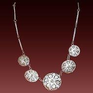 Vintage Mexican Silver Sombrero Filigree Necklace Unusual Lovely